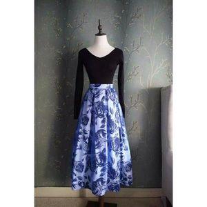 💙 Blue Rose Organza Maxi Skirt